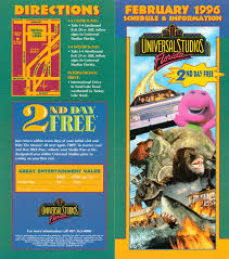 Universal Orlando Maps by From The Vault Universal Studios Florida 1996 Guide Theme Park