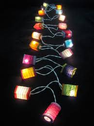 paper lantern led lights battery operated with mini multicolor led