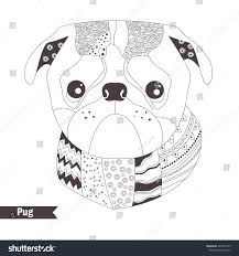 pug zentangle style coloring book stock vector 449330143