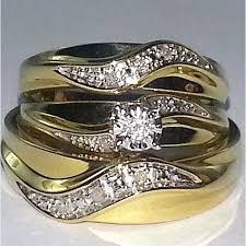 trio wedding sets wedding set men and women rings 3 set 0 15ct w real diamond