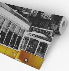 tram in lisbon peel and stick wallpaper moonwallstickers com