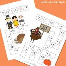 thanksgiving math puzzles coffee cups and crayons