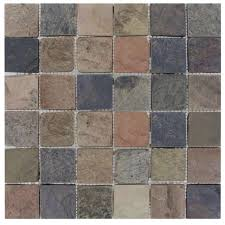Shower Floor Mosaic Tiles by Ms International Mixed Color 12 In X 12 In X 10 Mm Tumbled Slate