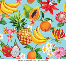flowers and fruits hawaiian seamless pattern tropical fruits flowers stock vector