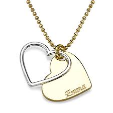custom heart necklace two tone couples customized heart necklace 14 inches