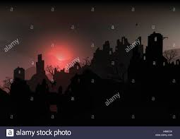 creepy halloween background horror halloween background landscape with ruins of a castle and