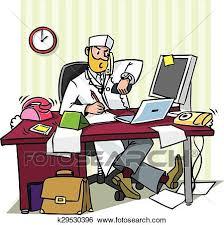 clipart bureau clipart occupé chef docteur dans a bureau k29530396