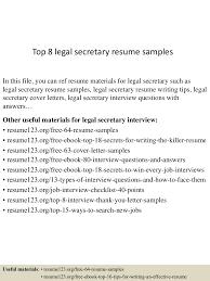 Sample Resume For Legal Secretary by Top8legalsecretaryresumesamples 150425024523 Conversion Gate01 Thumbnail 4 Jpg Cb U003d1429947973