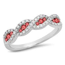 anniversary wedding band 10k gold ruby white bridal stackable anniversary