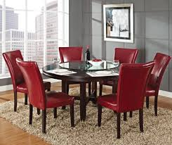 steve silver hartford 7 piece round dining room set w red chairs