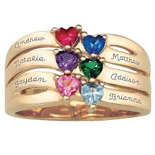 6 mothers ring s day name ring with heart shaped birthstones silver or