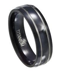 titanium wedding band black titanium wedding ring for men silver accent bands 7mm