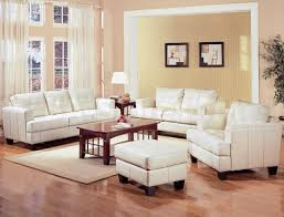 brilliant living room ideas with cream leather sofa in interior