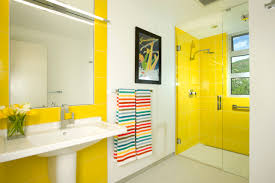 bathroom bright yellow bathroom with yellow tile accent walls and