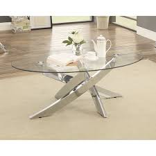 Glass Oval Coffee Table Furniture Of America Propel Modern Glass Top Chrome Oval Coffee
