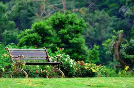 Metal Garden Chair Metal Garden Chair In Beautiful Garden Stock Photo Picture And