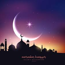 mosque silhouette in sky with crescent moon and vector