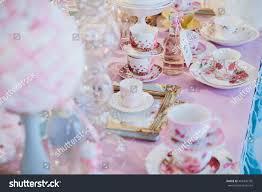 little tea table set little tea cups stand on mirror stock photo royalty free 496336795