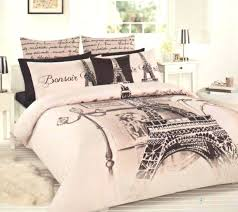 PARIS Eiffel Tower Beige Brown Black DOUBLEFULL Quilt Cover Set - Eiffel tower bedroom ideas