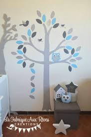 arbre chambre bébé stickers arbre gris bleu ciel chaud argent hibou chouette oiseaux