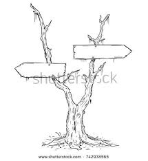 vector drawing dead swamp tree decision stock vector 742938565