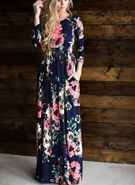 women u0027s long sleeve floral printed maxi prom dress roawe com