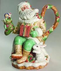 fitz floyd winter santa teapot lid teapots