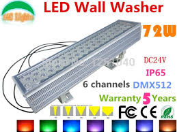 dc24v 72w dmx512 rgb led wall washer outdoor spotlight change