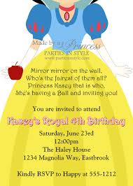 snow white birthday birthday invitation princess series snow