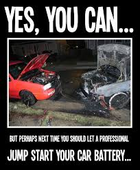 Battery Meme - a battery jump start gone wrong meme