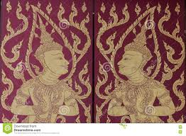 traditional thai mural painting the life of buddha and thai life editorial stock photo