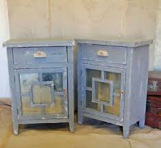 pair of french grey shabby chic vintage style bedside cabinet