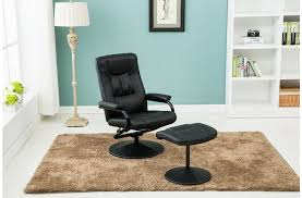 memphis swivel recliner chair in black faux leather with matching