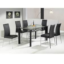 glass dining room chairs stainless steel dining table for 6 with