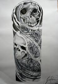 awsome skulls and roses drawings skulls and roses sleeve