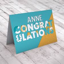 personalised congratulations card blue and yellow card factory