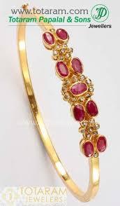 gold bangle bracelet design images Ruby bracelet with uncut diamonds in 22k gold bangle bracelet jpg