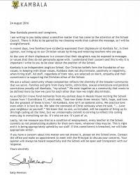 kambala sends letter shaming parents complaining about