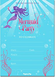 amazon com mermaid watercolor birthday party invitations for