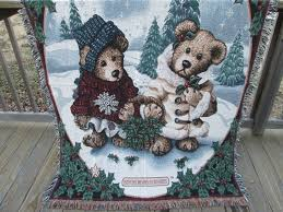 boyds bears friends christmas throw blanket gathering holly edmund