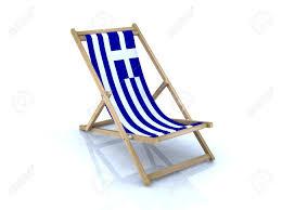 Greek Canadian Flag Wood Beach Chair With Greek Flag 3d Illustration Stock Photo