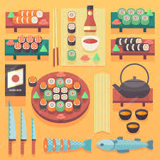 japanese food and cuisine illustration flat vector cooking design