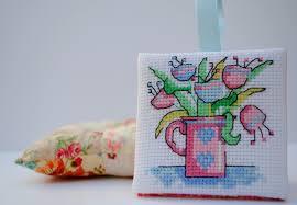 pull the other thread floral mini cross stitch flat ornament
