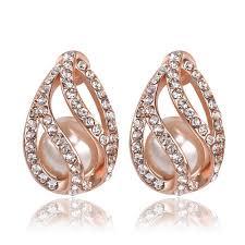 cheap diamond earrings fashion earring 18k gold plated diamond earrings for girl