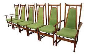 Modern Walnut Dining Chairs Mid Century Modern Walnut Lime Green High Back Dining Chairs