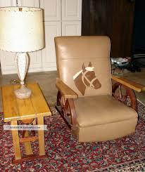 Western Rocking Chair Cowboy Western Wagon Wheel Rocking Chair W Horse Head Matching End