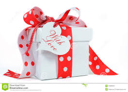 red and white polka dot theme gift box present stock photo image