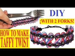 make loom band hair pins how to make taffy twist bracelet with two forks without loom
