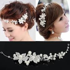 designer hair accessories wedding bridal party pearl diamante flower tiara women