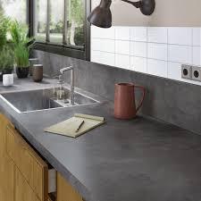 table de travail cuisine plan de travail stratifié effet métal vieilli mat l 300 x p 65 cm